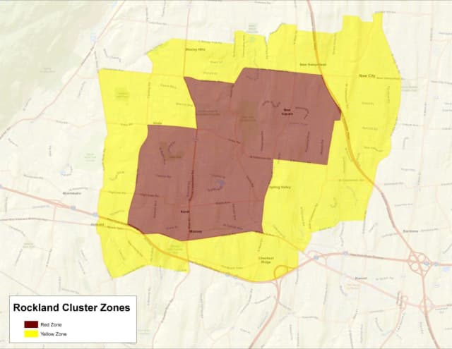 The COVID-19 cluster zones in Rockland County.