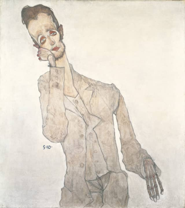 """Egon Schiele (1890–1918). """"Portrait of the Painter Karl Zakovšek,"""" 1910, Oil, tempera, and charcoal on canvas. Private Collection. Courtesy Neue Galerie New York."""