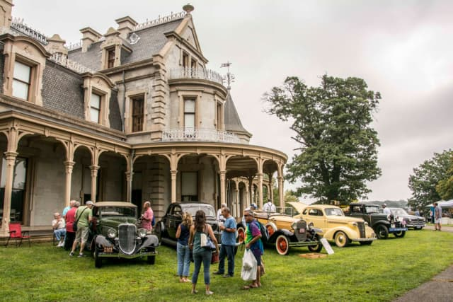 Vintage automobiles were on display during 2017's Old-fashioned Flea Market at Lockwood-Mathews Mansion Museum. Sarah Grote Photography. Courtesy Lockwood-Mathews Mansion Museum.