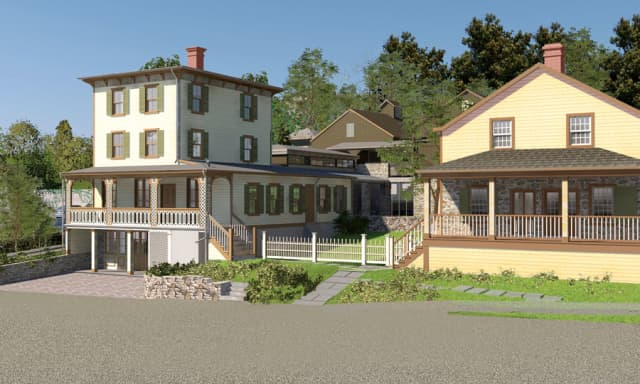 A close-up of the newly reimagined Toby's Tavern, left, and Storehouse, right, on the grounds of the renovated Greenwich Historical Society campus in Cos Cob. Rendering by David Scott Parker Architects. Courtesy Greenwich Historical Society.