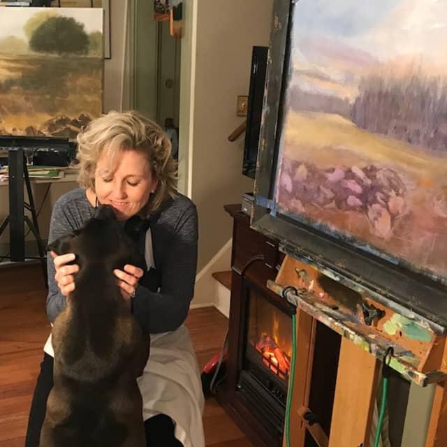 Artist Gail Bell in her studio. Courtesy Aspetuck Land Trust.