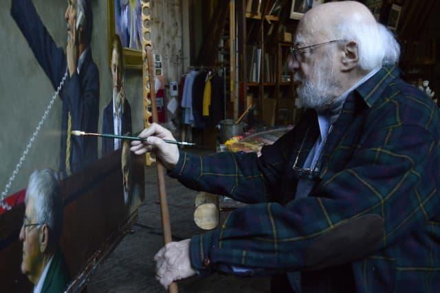Daniel Greene at work back in 2015 in his North Salem barn-studio. Photograph by Bob Rozycki.