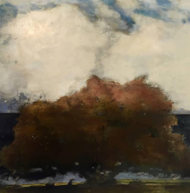 "David Konigsberg, ""Red Oak,"" 2019, oil on panel, 42 x 42 inches, $8500. Courtesy Kenise Barnes Fine Art."
