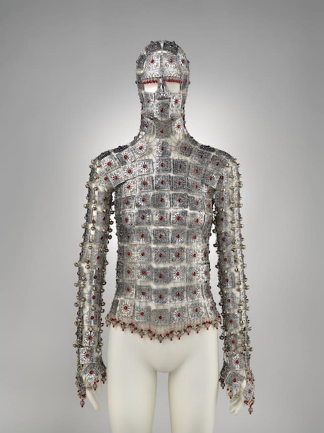 Yashmak, Shaun Leane (British, born 1969), Designed for Alexander McQueen (British, founded 1992), Spring/summer 2000, edition 2017, Aluminum, Swarovski crystal, Purchase, Friends of The Costume Institute Gifts, 2017 (2017.328a–c). Courtesy Metropolitan Museum of Art.