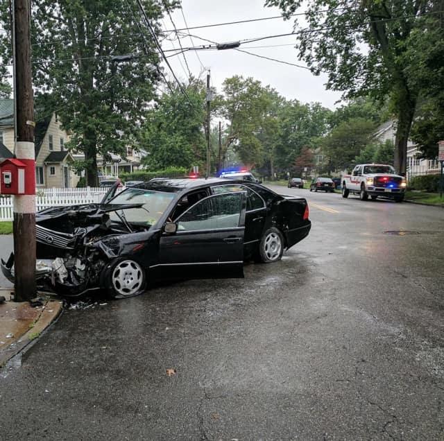 A Lexus sedan crashed into a Hackensack utility pole Friday.