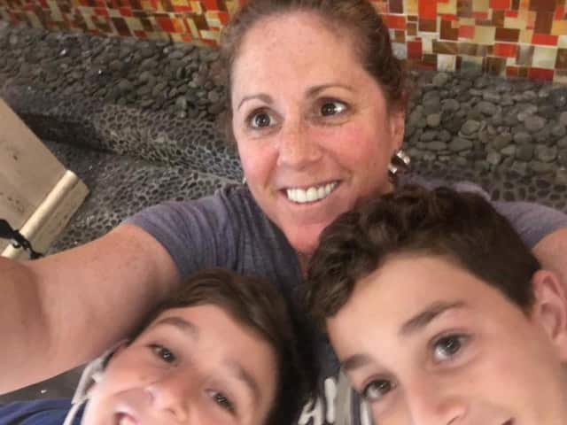 Robin Honigstock Krooks of Fair Lawn and two of her four kids.