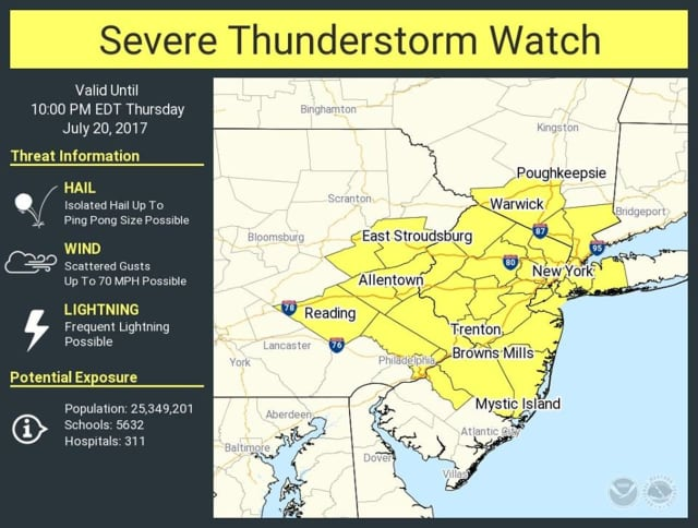 A look at areas, including Westchester and Rockland, covered by the Severe Thunderstorm Watch.