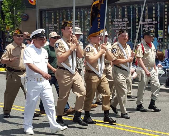 Veterans march in the Pompton Lakes Memorial Day Parade in 2015.