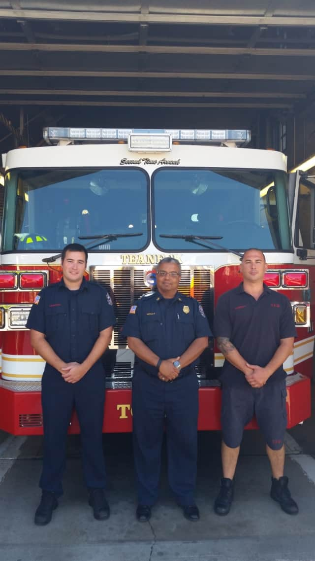 From left: Firefighter Sergio Caamano, Fire Chief Anthony Verley and Firefighter Jason Sorrenti.