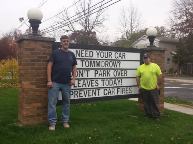 Kenneth Shepherd and Thomas Gaspari Jr, two volunteer firefighters in Norwood, outside the firehouse on Broadway.