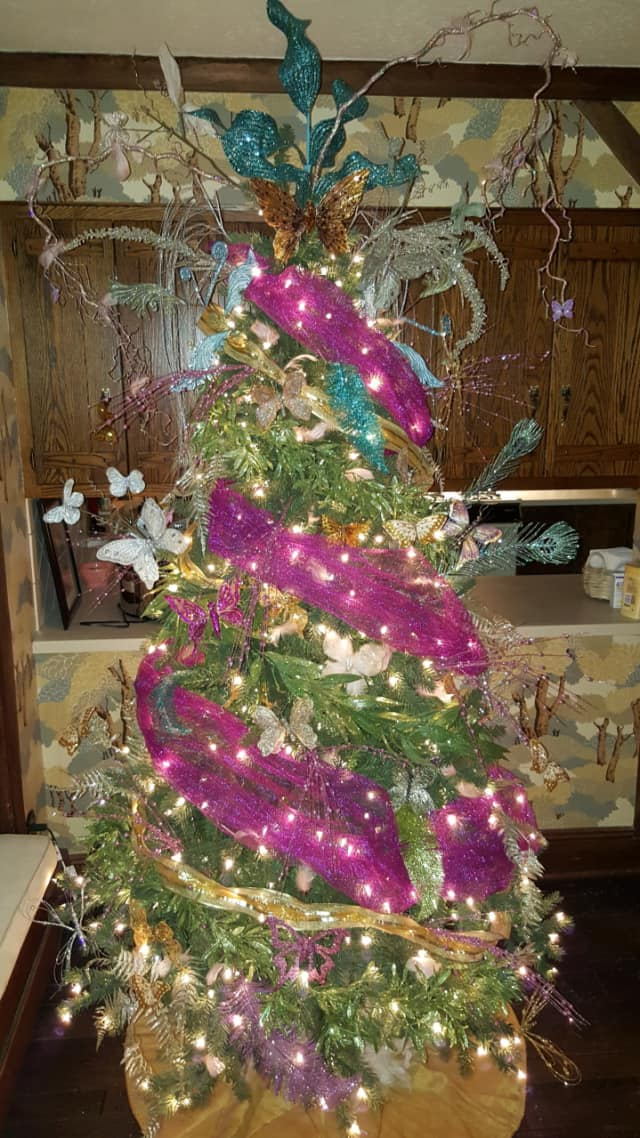 Melissa Tedesco of Ridgefield's butterfly-themed Christmas tree.