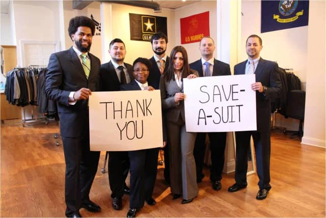 Recipients of donated attire from Save-A-Suit thank the organization for their work.