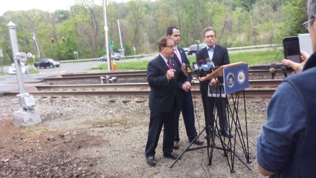 State Assemblyman Tom Abinanti and Sen. David Carlucci held a news conference last Friday at the Commerce Street railroad crossing in Valhalla, site of the deadliest accident in Metro-North history. They are with Alan Brody, whose wife was killed.