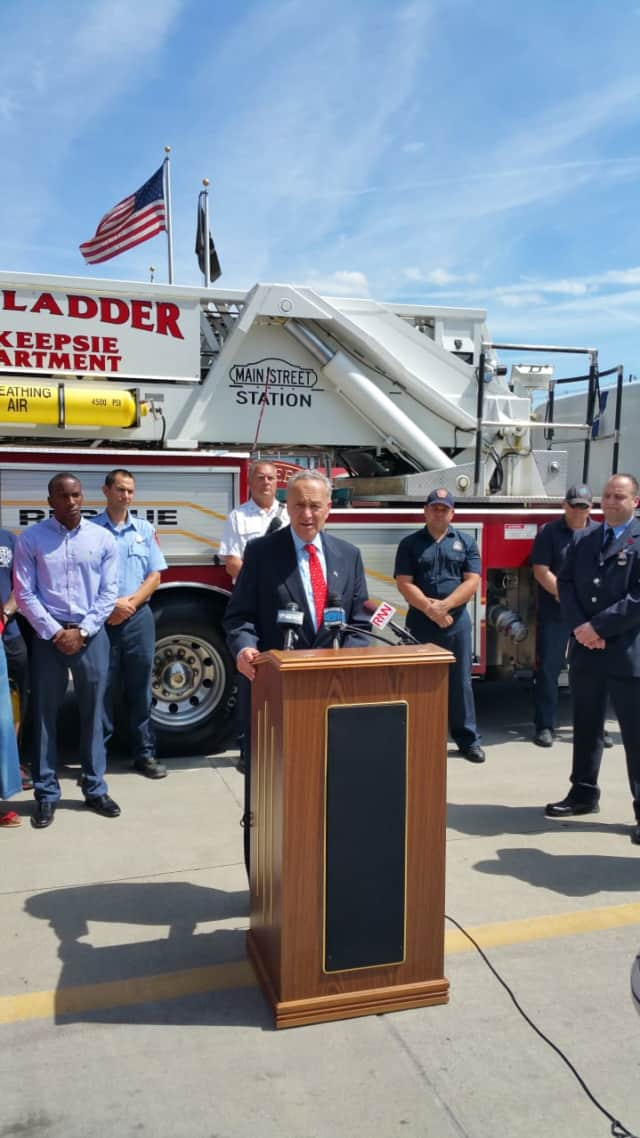 Senator Charles Schumer at a press conference with firefighters from Poughkeepsie, LaGrange, Fairview and Arlington.