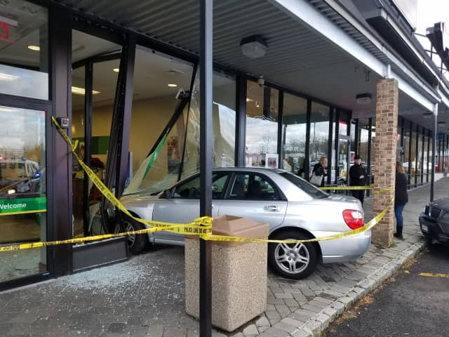 A vehicle smashed into a New City Bank last week.