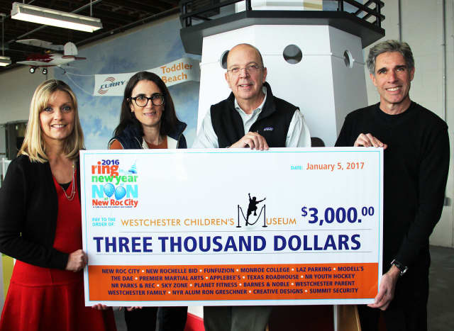 From left, Sherry Bruck, president of Harquin Creative Group, MaryLou Pagano, director of development at the Westchester Children's Museum, Tracy Kay, executive director of the Westchester Children's Museum and Fred Bruck, vice president of Harquin.