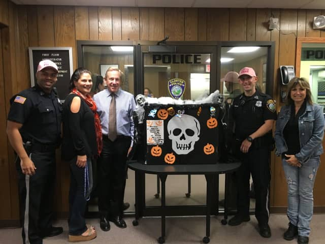 From left: Closter Police Officer Sanchez, NVC Co-VP Soci Kayserian, Closter Mayor John Glidden, Closter Police Officer Barbieri, NVC Board Member Gloria Byrne