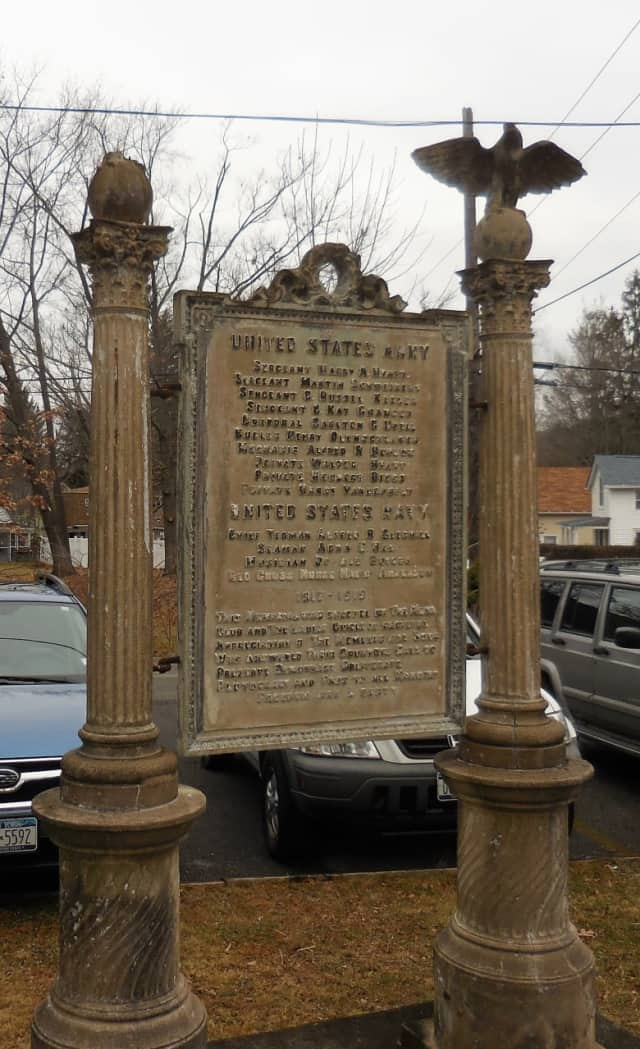 The World War I monument at the Campwoods property on Narragansett Avenue in Ossining is in need of restoration.