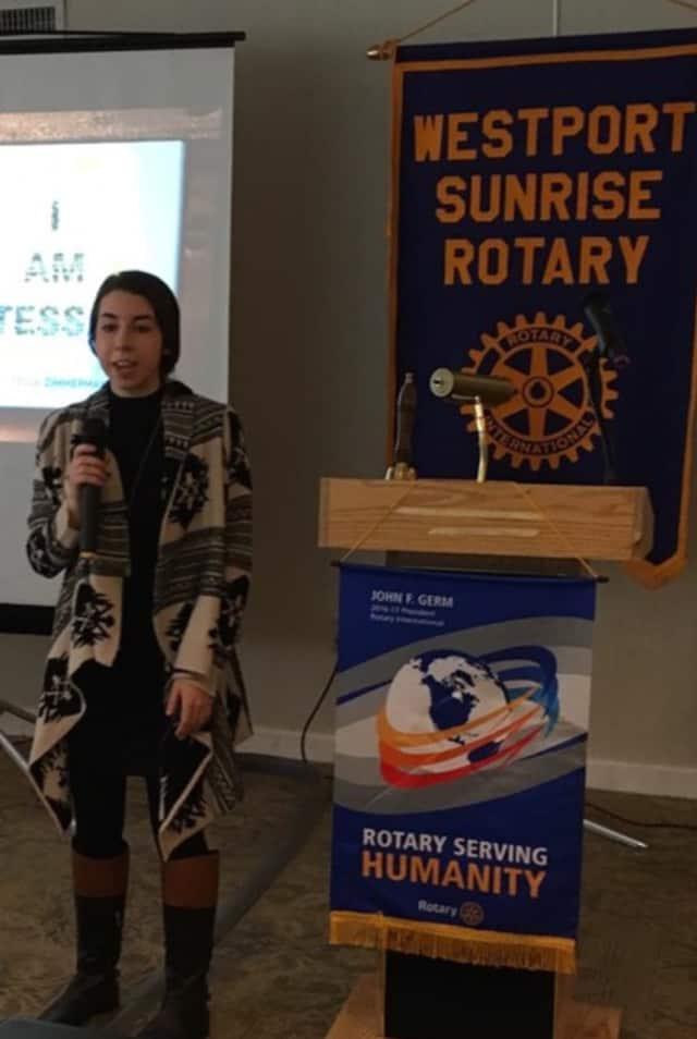 Westporter Tessa Zimmerman, 21, speaks to the Westport Sunrise Rotary.