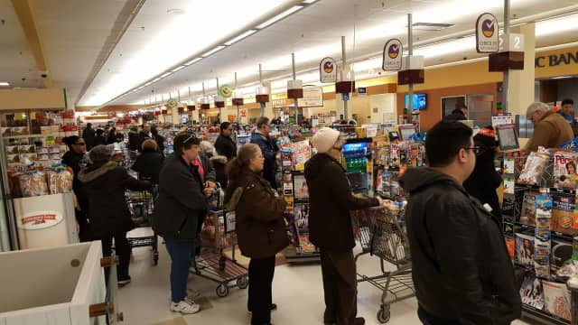 People across the state packed into Stop & Shop stores on Monday in preparation for Tuesday's snowstorm.