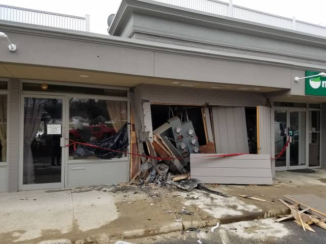 The facade was damaged at Naked Greens on Route 7 in Wilton after a car slammed into the building in March.