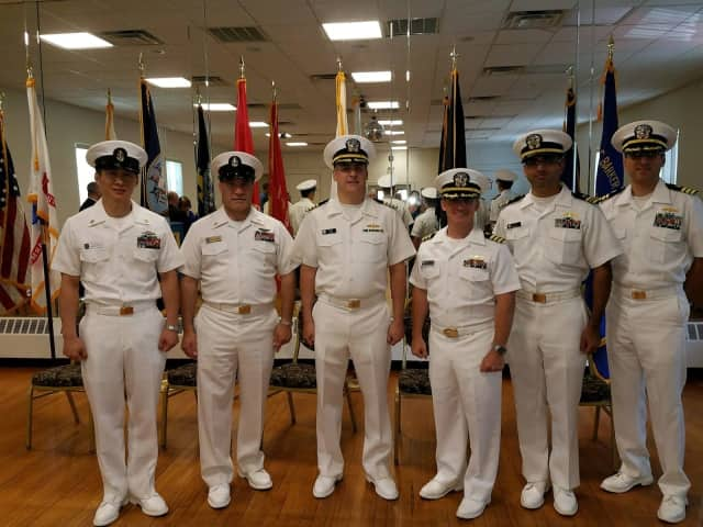 Capt. David Fillis (center), was promoted during a ceremony held at the Corporal Jedh C. Baker American Legion Auxiliary Unit 153, located in Park Ridge, New Jersey.