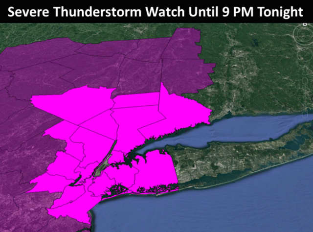 A Severe Thunderstorm Watch is in effect until 9 p.m. Friday.