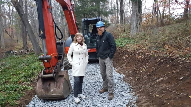 Pat Sesto, President Friends of the NRVT, and Josh Ryan, Timber & Stone trail builders