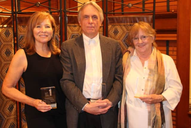 Alice McMahon, right, poses with fellow award winners Peggy Nelson and Al Kulcsar.