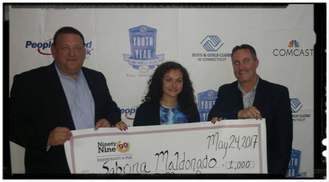 Rich Williams, operations director for Ninety Nine Restaurants, left, poses with Sabrina Maldonado, 2017 Connecticut Boys & Girls Club State Youth of the Year, and Brian Casey, operations director, Ninety Nine Restaurants.