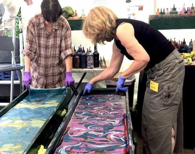 Design your own silk scarf with Rich Borden and Patricia DiSantis of Shibumi Silks in East Haddam, Connecticut.