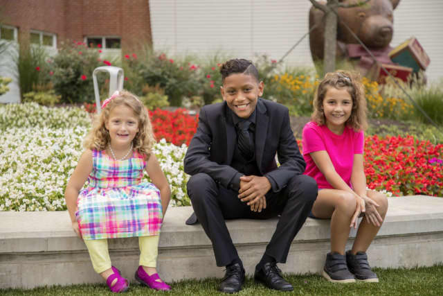 "Ambassadors for this Sunday's walk and family fun day for Maria Fareri Children's Hospital at Westchester Medical Center, from left to right, Joy Degl, 6, of Mahopac; Jose ""Armani"" Curet, 11, of Sleepy Hollow; and Adriana Pratt, 8, of Danbury."