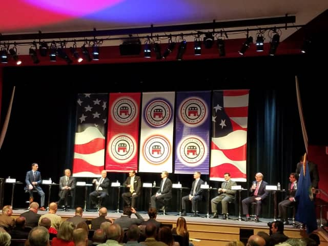 Republican candidates for Connecticut governor at an earlier debate in New Canaan