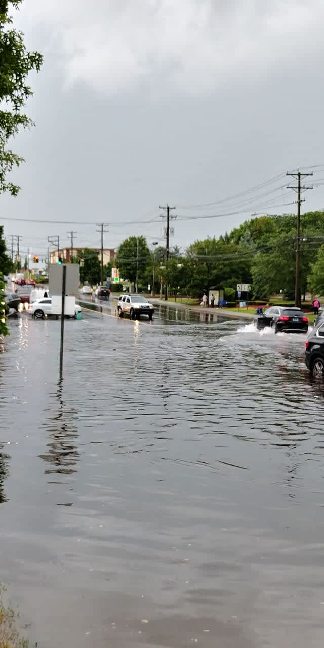 Flooding on Post Road in Norwalk late Thursday afternoon.
