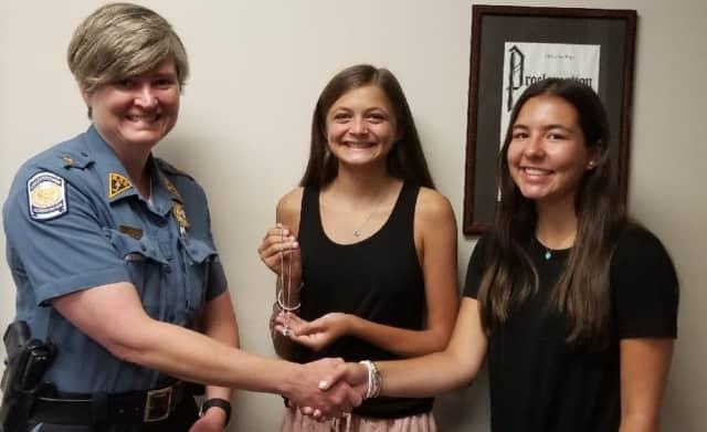 Ridgewood Police Chief Jacqueline Luthcke with Natalie Jackson (center and Emily Mainwald