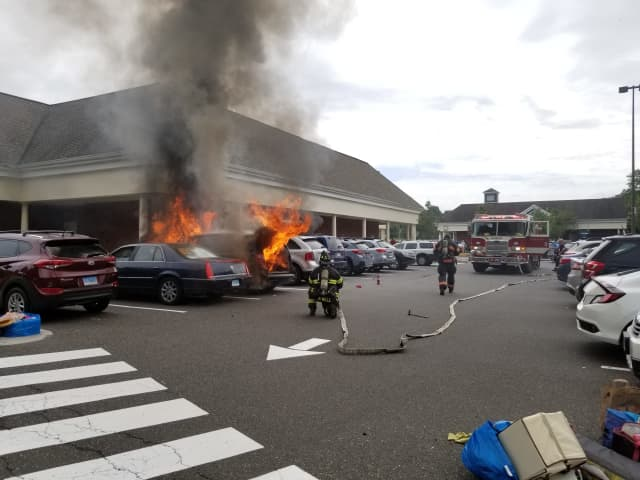 A look at the vehicle fire that broke out at Trader Joe's in Danbury.