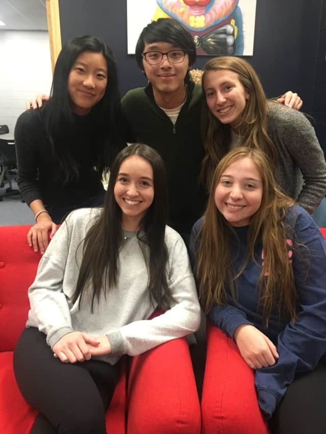 L to R: Stella Li, Jeremy Ma, Alexandra Brocato. Bottom row: Alexis Aberman, Kylie Roslin.