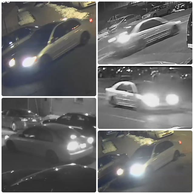 Police in Yonkers are attempting to track down the driver of this gray sedan.