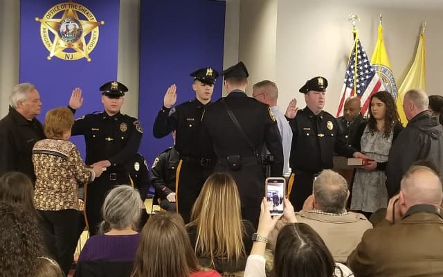 Seven new recruits, one investigator and five inter-governmental transfers were sworn in Friday to the Bergen County Sheriff's Office.