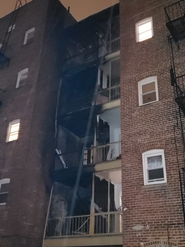 The Montclair Fire Department responded to a two-alarm blaze at an apartment building overnight Sunday