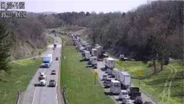Traffic stalled on Route 222 in Lancaster County