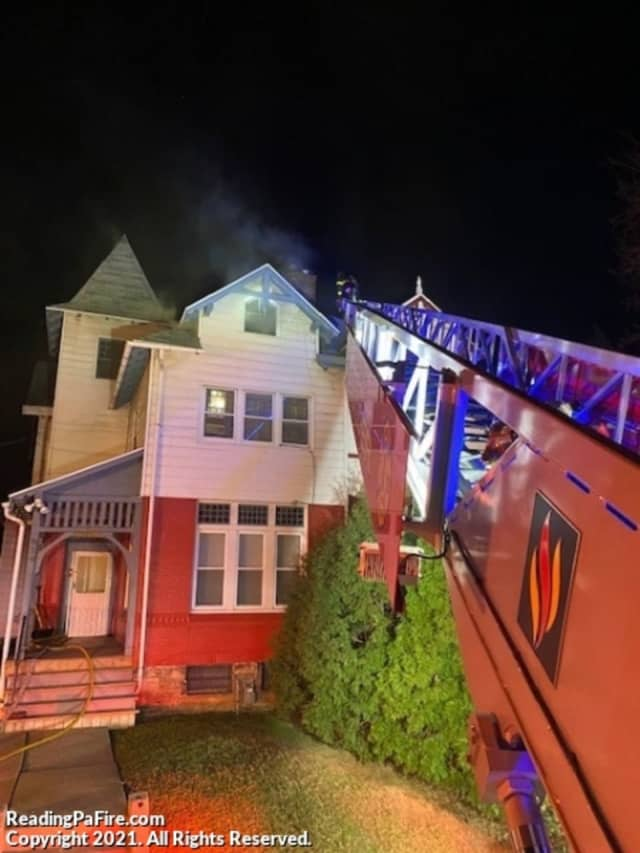 A Reading family has been displaced from their home after a roof fire damaged their 2 and a half story home late Monday night.