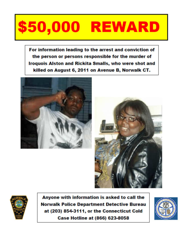 A $50,000 reward is being offered for information into the Aug. 6, 2011, murders of Rickita Smalls and Iroquois Alston.