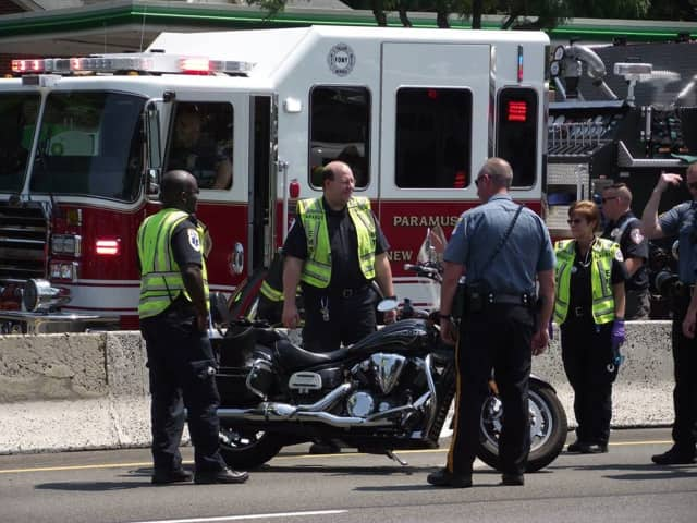 A motorcyclist was transported to HUMC after a collision on Route 17 in Paramus Thursday.