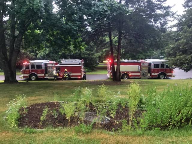The Monroe Volunteer Fire Department responds to a report of a lightning strike at a home on Richards Drive. There was no fire, but several breakers were tripped.