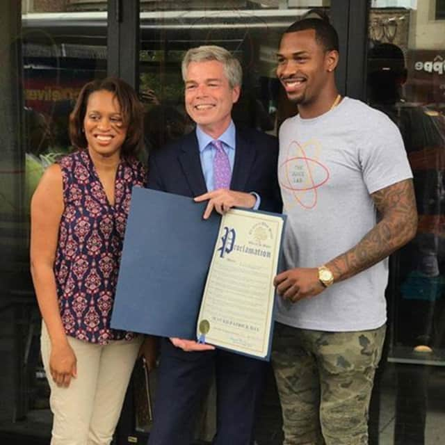 Sean Kilpatrick at the opening of the Juice Lab in White Plains