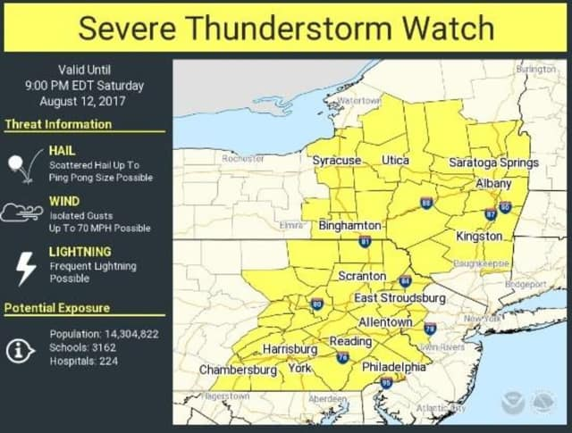 A look at areas (in yellow), including Dutchess, covered by the Severe Thunderstorm Watch.