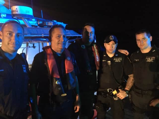 Members of the Yonkers Police Department following the rescue.