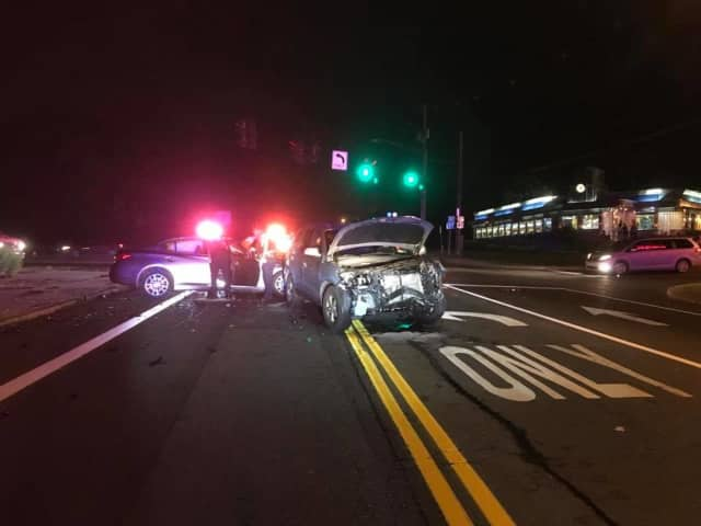 A two-vehicle crash in front of the Mount Ivy Diner on Route 22.