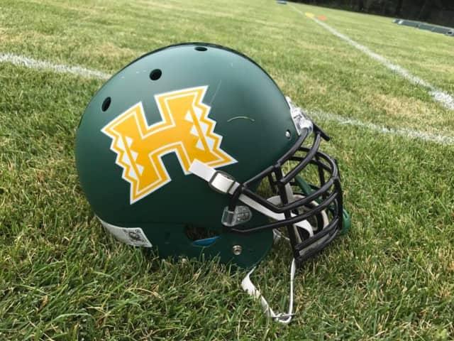 Hastings football helmets.